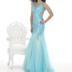 Morrell Maxie Prom/Sweet 16 Dress Aqua/Nude